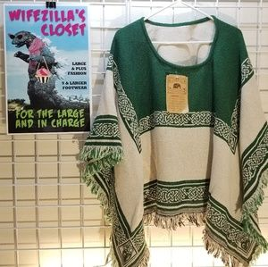 The Rug Barn Green & White Cotton Jacquard Poncho
